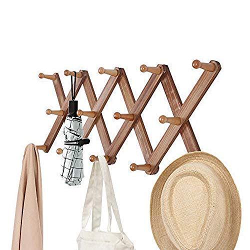 OROPY Kiefern Hölz Wandgarderoben, erweiterbar Garderobenleiste zur Wandbefestigung, 10 Haken, zum aufhängen von mänteln, schmuck, hüten, schal