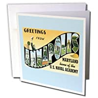 BLNヴィンテージUS都市とStatesはがきデザイン–Greetings from Annapolis Marylandホームof the Naval Academy–グリーティングカード Set of 6 Greeting Cards