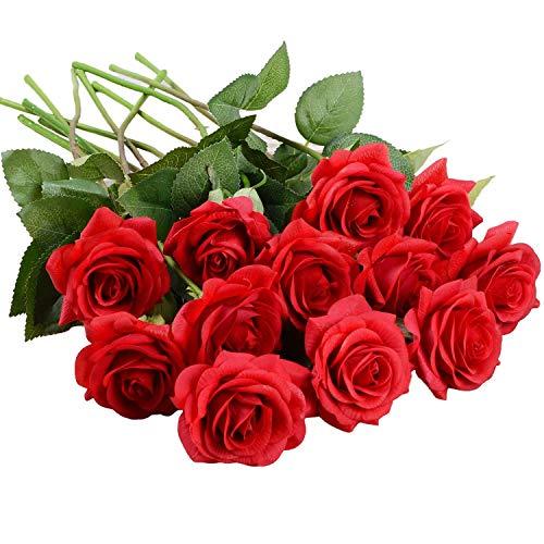 Flores Artificiales Seda Rosa Flores-12 Piezas Rosas Rojas Planta Falsa Real Touch Ramo de Boda Nupcial para el hogar Boda Jardín Fiesta Decoración Floral