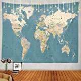 Shrahala World Map Tapestry, Vintage Map of Europe in Color Wall Hanging Large Tapestry Psychedelic Tapestry Decorations Bedroom Living Room Dorm(39.4 x 59.1 Inches, Blue Beige)