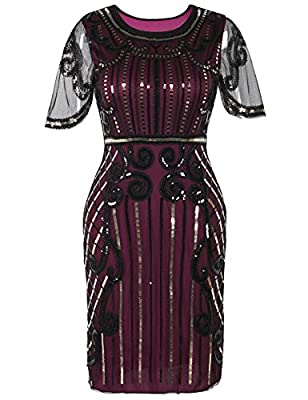 PrettyGuide Women's 1920s Dress Bead Sequin Embellished Cocktail Flapper Dress