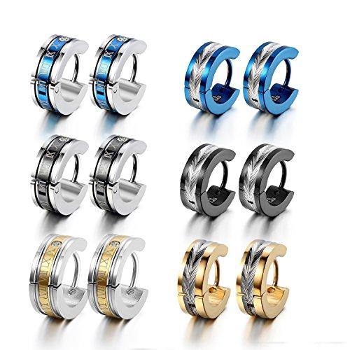 cupimatch 6 Paar Unisex Edelstahl Huggie Scharnier Creolen baumeln Ohrringe, blau schwarz gold