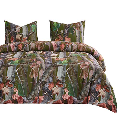 Wake In Cloud - Forest Comforter Set, Autumn Fall Camo Leaves Trees Wood Hunter Woodland and Brown Branches with Nature Theme, Soft Microfiber Bedding (3pcs, Queen Size)