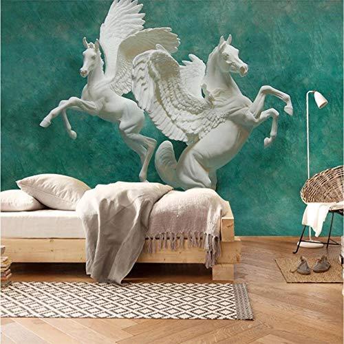 Custom Wallpaper 3D Mural Embossed Horse Art Papel De Pared Background Wall Living Room Children's S Room Wallpaper 430 cm x 300 cm.