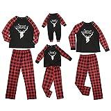 Nokiwiqis Conjunto de ropa de hogar a juego a cuadros de la familia feliz Navidad letra y ciervo impresión de Navidad pijamas lindos de alce Jammies Set para niños bebé mamá papá, Papá Rojo, XXL