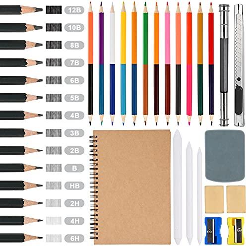 GOLDGE - Juego de lápices de dibujo para bocetos de grafito, juego de dibujo, juego de dibujo, 14 lápices de colores y 13 lápices de colores