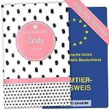 EU-Heimtierausweis Hülle Creative Royal Tierausweis Schutzhülle schöne Geschenkidee personalisierbar mit Namen und Geburtsdatum (Punkte Rosa, EU-Heimtierausweishülle personalisiert)