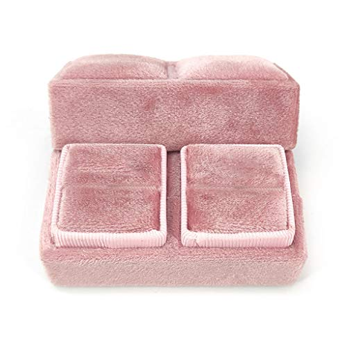 VEED Velvet Double Ring Box Quadrilateral Wedding Ceremony Ring Box with Lid
