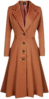 Howely Women Coat Jacket Notch Lapel Single Breasted Solid Peplum Trench