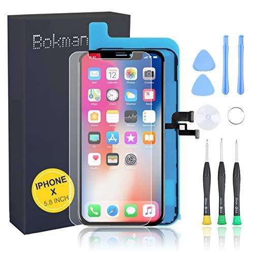 bokman Display Reparaturset kompatibel mit Schwarz iPhone X (inkl. Glas, Retina OLED, Touchscreen), Passendes Profi-Werkzeugset enthalten