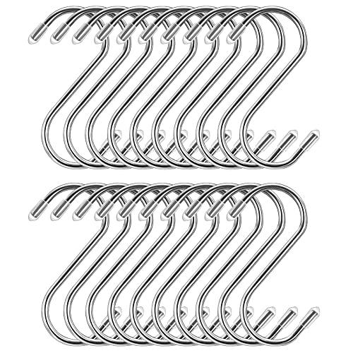 20 Stück S Haken 9cm, Bolatus S-Haken Edelstahl Robuste Metallhaken S-förmige Haken für Küche Badezimmer Schlafzimmer Büro Edelstahlhaken