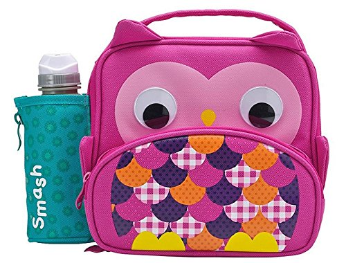 Smash  Owl Insulated Lunch Bag and 350ml Bottle - Pink