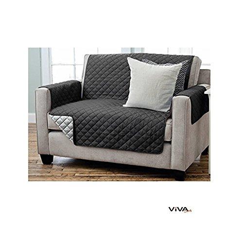 Viva Living Wende Sesselschoner Sofaschoner Sesselschutz Sofaüberwurf mit Armlehnen und Taschen (2- Sitzer 191 x 224 cm, schwarz/anthrazit)