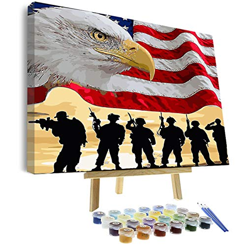 VIGEIYA DIY Paint by Numbers for Adults Framed Canvas and Wooden Easel with Brushes Acrylic Paint 16 x 20In (The eagle flag)