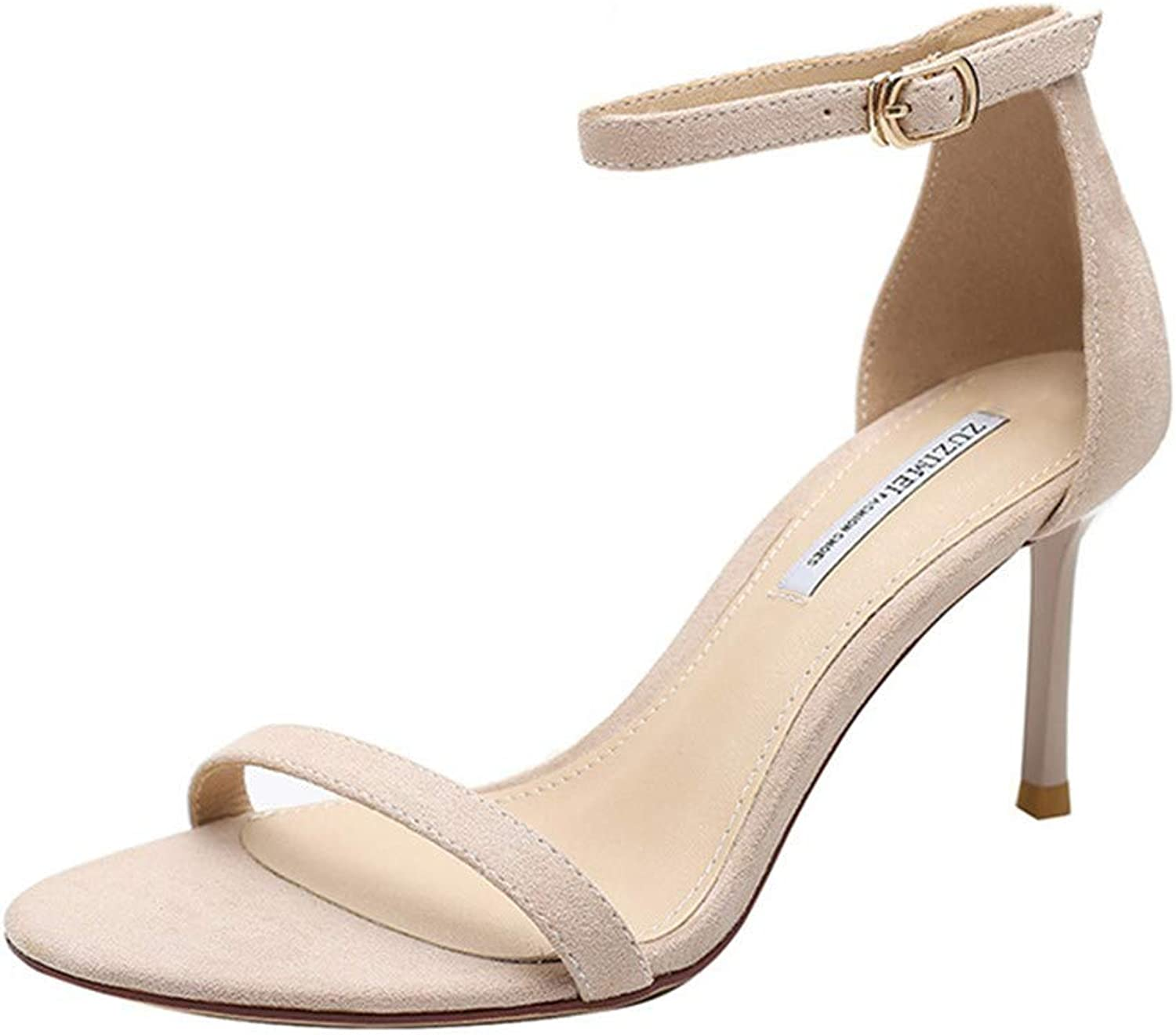 Womens Fashion Peep Toe High Heels Platforms Thin Heels Sandals Party shoes Apricot