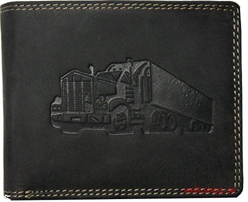 Hochwertige Geldbörse Geldbeutel Portemonnaie Büffel Wild Leder Truck geprägt