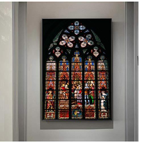Imagen de techo de vidrieras de iglesia en carteles de arte de pared impresiones religión cristiana edificio ventana lienzo pintura decoración -50x75cmx1pcs -sin marco