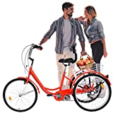 Adult Tricycle -Trike Bike for Seniors Women & Family - Leisure Vegetable Basket Car - Three Wheel Cruiser Bikes | Manpower Tricycle with Cargo Basket for Seniors, Family | Leisure Picnics & Shopping