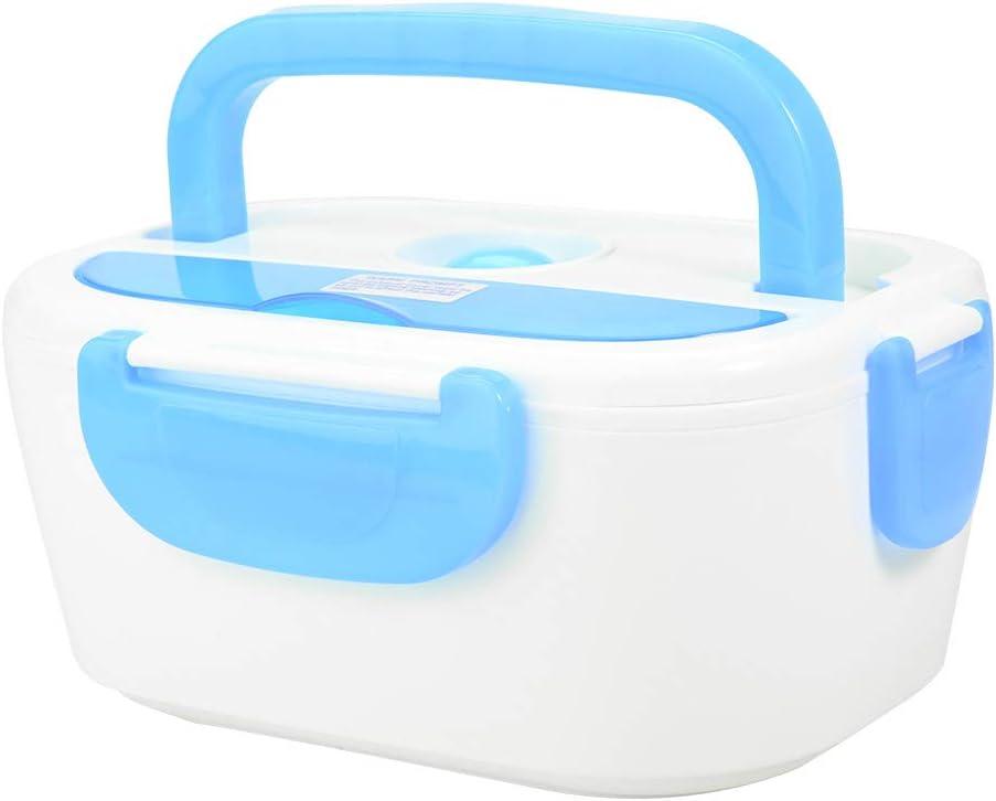 Fiambrera con calefacción de coche Fiambrera con calefacción eléctrica Fiambrera eléctrica Contenedor de alimentos Fiambrera eléctrica Fiambrera no tóxica para oficina(blue)