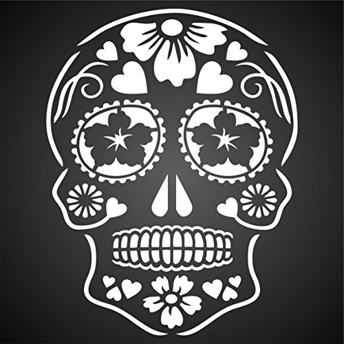 "Day of the Dead Sugar Skull Stencil - (size 8""w x 10.5""h) Reusable Halloween Wall Stencils for Painting - Halloween Decor Ideas - Use on Walls, Floors, Fabrics, Glass, Wood, and More…"