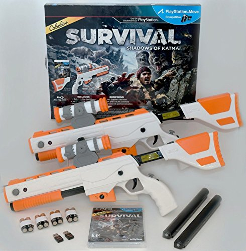 PS3 Cabela's Survival Shadows of Katmai GAME + 2 GUNS Bundle top shot elite
