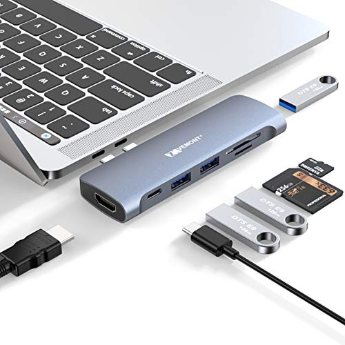 USB C Hub for MacBook Pro/Air,VEMONT 7 in 2 Type C Adapter with Thunderbolt 3 PD 100W,4K HDMI,3*USB 3.0 Ports,SD TF Card Reader,USB C Docking Station for MacBook pro 2020-2016,MacBook Air 2020-2018
