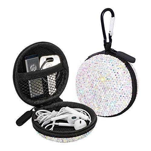 SAVORI Earphone Case Earbuds Small Carrying Cases Bling Rhinestone Crystal Portable Headphone Organizer Storage Pouch Bag with Carabiner (AB Color)