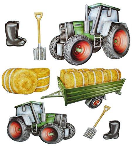 8 TLG. Set: 3-D ! Wandtattoo / XL Sticker aus Pappe - Traktor Bauernhof - selbstklebend Aufkleber / Wandsticker Auto Traktoren Landmaschine auch als Fensterst..
