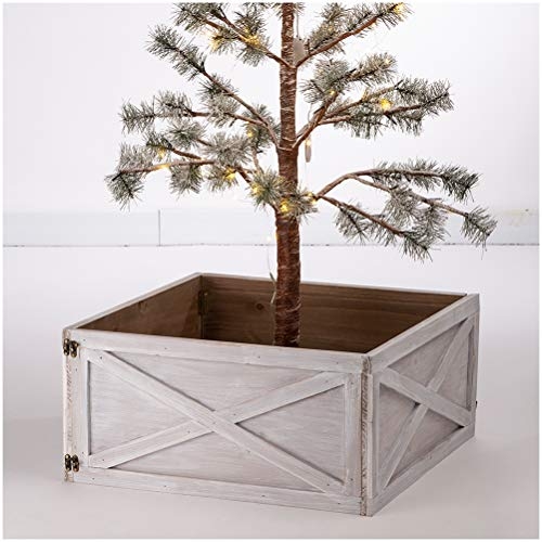 Glitzhome Washed White Wooden Tree Collar Tree Stand Cover Christmas Tree Skirt Tree Box, 22' L