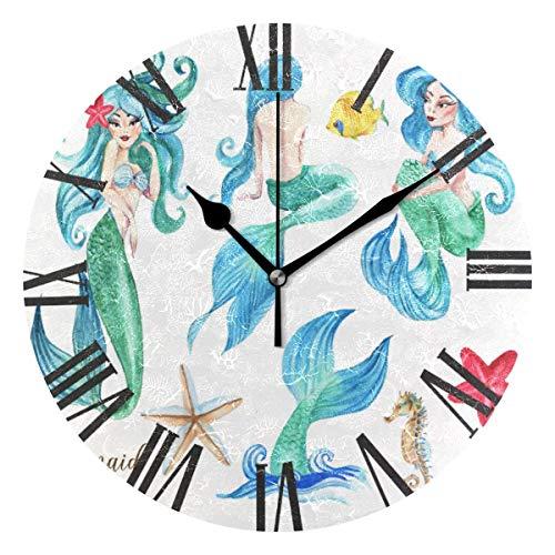 FETEAM Lindo Sirena Caballito de mar Estrella de mar Reloj de Pared operado por batería Redondo Divertido Dibujos Animados Animales Relojes de Cuarzo hogar Oficina Cocina Escuela