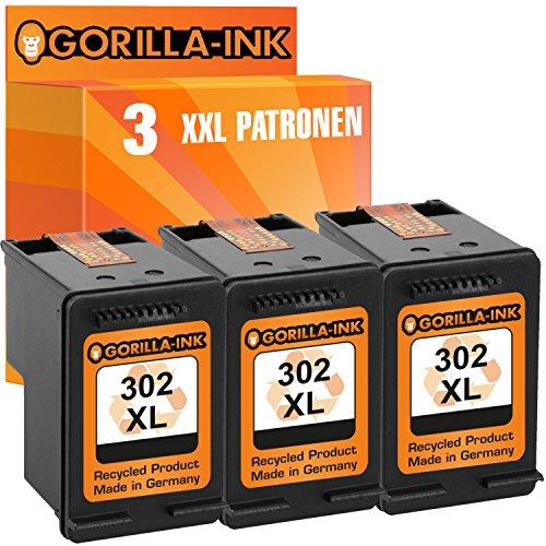Gorilla-Ink 3X Tintenpatrone remanufactured für HP 302 XL Schwarz mit Füllstandsanzeige und 135% mehr Inhalt! HP Deskjet 1110 2130 3630 3630 Series 3631 3632 3633 3634 3636 3637