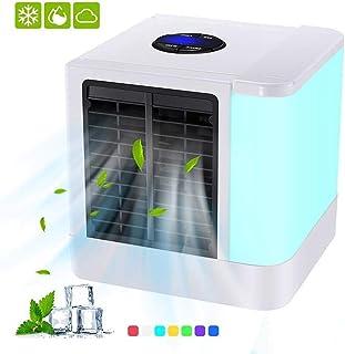 Personal del refrigerador de aire,USB portátil Mini acondicionador de aire,3 en 1 humidificador,5 Velocidades ventilador de escritorio 7 colores luz de la noche para la oficina,hogar,dormitorio,Viajes