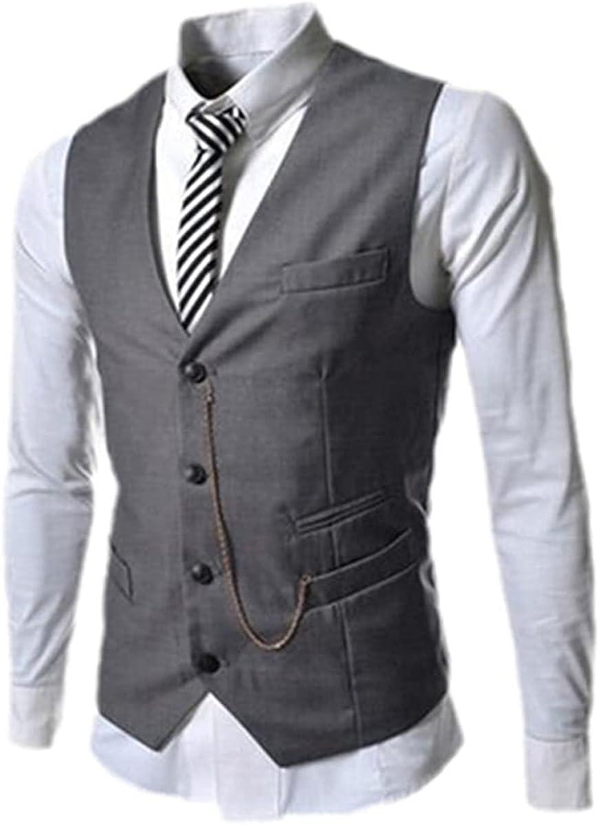 Men's Fashion Vest Slim Fit Metal Chain Vest Best Man Business Casual Suit Vest