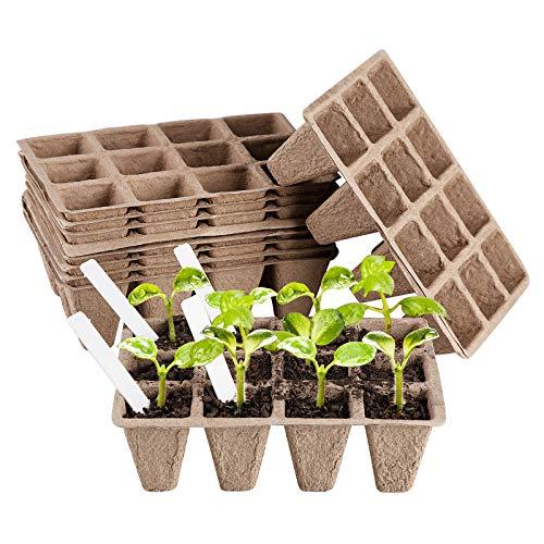 ANSUG 10 Stück Samen Starter Tabletts mit 10 STK Etiketten, 12 Zellen Biologisch Abbaubar Quadratisch Anzuchttöpfe Pflanzenanzucht