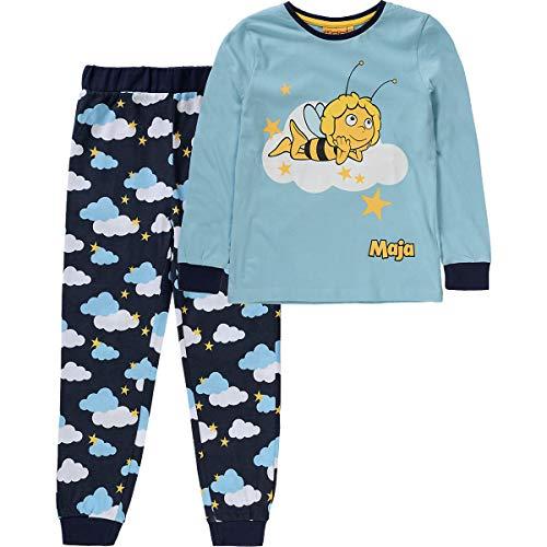 Biene Maja Schlafanzug Mädchen, 100% Baumwolle blau Gr. 116/122