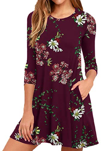 VIISHOW Women#039s 3/4 Sleeve Floral Printed Tunic Top TShirt Swing Dresses with Pockets Floral Wine Red Medium