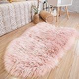 STAOLENE Ultra Soft Sheepskin Seat Covers,Washable Pink Shag Faux Fur Rug Indoor Fluffy Area Rug for Bedroom Floor Sofa Living Room(2 x 3ft,Pink Rug)