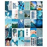 Kanora Kit de collage de pared azul estético – VSCO decoración de dormitorio para niñas adolescentes, juego de 30 unidades de 10,16 x 15,24 cm, imágenes estéticas para collage de pared