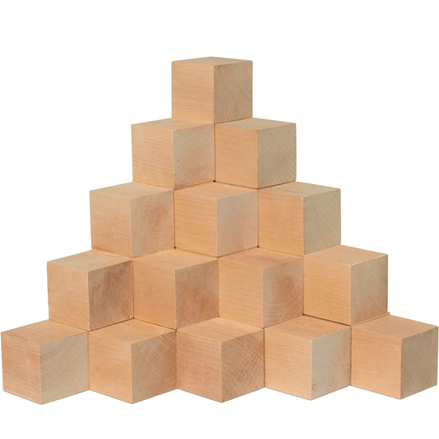 Wood Blocks, 2 Inch Cubes, 24 Pack | Unfinished Wooden Toy Craft Supply Kit for Kids & Adults, DIY Art Projects, ABC Toys | Woodpeckers Crafts