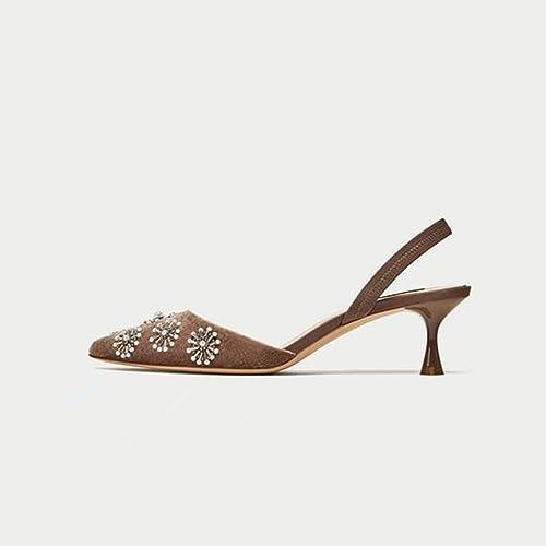 JIANXIN Le Printemps Et L'été des des des Femmes avec Une Seule Chaussure A Pointé des Chaussures à Talons Hauts Creux avec des Chaussures en Cuir. (Taille   39) e40