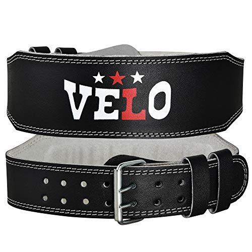 Velo Cinturón de Levantamiento de Pesas de 4 Pulgadas para Fitness, Gimnasio, cinturón de Cuero Ajustable con Espalda Lumbar Acolchada, Culturismo, Peso Muerto y Ejercicio en Cuclillas (Negro, M)