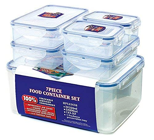 Lock & Lock HPL836SB Storage Container, Clear/Blue, Set of 6