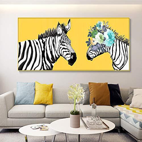 Geiqianjiumai Kunst Zebra Tier Bild leinwand malerei Wand Wohnzimmer Schlafzimmer Moderne Dekoration Poster rahmenlose malerei 30x60 cm