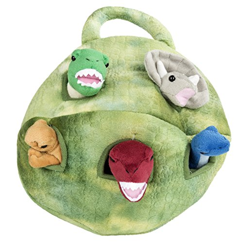 Five (5) Stuffed Animal Dinosaur in Play Dinosaur Carrying Case