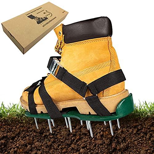 Exnemel Zapatos de aireador de jardín, tamaño Universal, 50 mm de Largo, escarificadores manuales de césped, aireador de Servicio Pesado Que airea Zapatos de Pinchos de césped para Patio, jard
