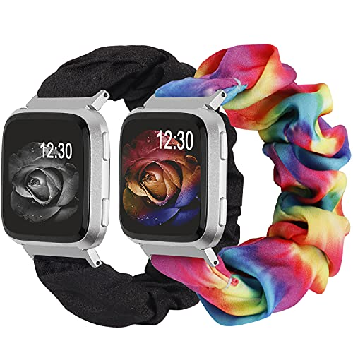 TOYOUTHS 2-Pack Compatible with Fitbit Versa/Versa 2 Bands Scrunchie Elastic Versa Lite Special Edition Wristband Cloth Fabric Cute Stretchy Scrunchy Bracelet Women (Tie Dye Rainbow, Small)