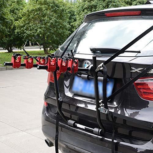 HOMCOM Fahrradheckträger für 3 Fahrräder Fahrradträger Heckträger faltbar mit Sicherheitsseile Metall + Kunststoff - 2