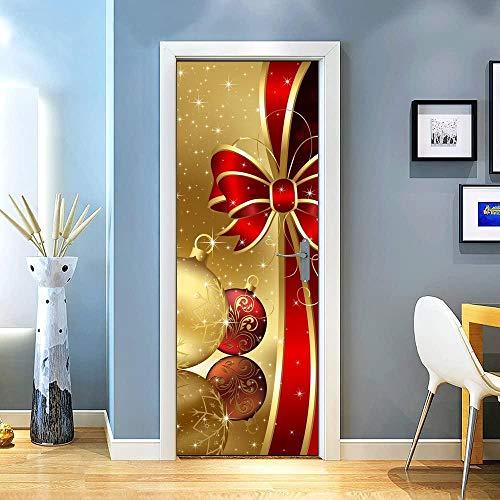 KEXIU 3D Arco dorado rojo navidad PVC fotografía adhesivo vinilo puerta pegatina cocina baño decoración mural 77x200cm