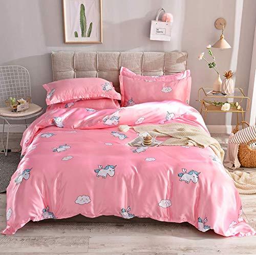 HDBUJ dekbedovertrek van polyester, digitale druk, personaliseerbaar, met twee bijpassende kussenslopen, roze