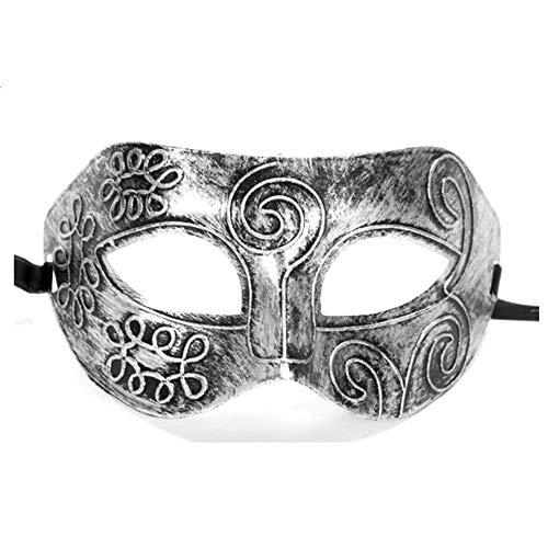 CAOLATOR.Máscara de Tallado de Mascarilla Media Cara Antifaz para Mascarada Veneciano Carnaval Halloween Fiesta de Baile Disfraces Juguetes para Hombres-Plata